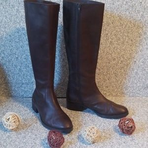 Donald J Pliner Brown Leather Tall Boots Size 9